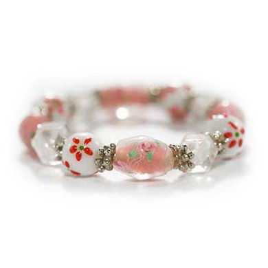 Lampwork Glass Beads Stretch Bracelet Pink Roses- 7 Inches