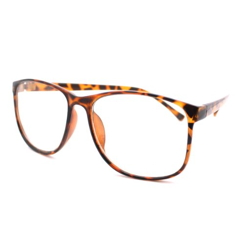Tortoise Large Nerdy Thin Plastic Frame Clear Lens Eye ...