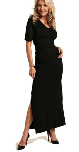 CLEARANCE SALE-V-Neck Long Black Dress - Plus Sizes Available (Fuss Free Apparel)