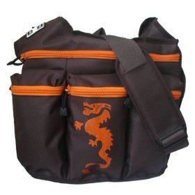Diaper Dude Brown and Orange Messener Diaper Bag with Dragon