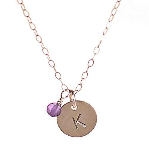 Sterling Silver Initial Necklace with Birth Month Charm, Tiny Dainty Personalized Letter Disc, small