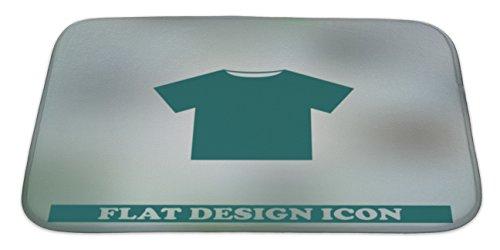 Gear New Bath Rug Mat No Slip Microfiber Memory Foam, Green Blank Tshirt Icon Symbol, 34x21