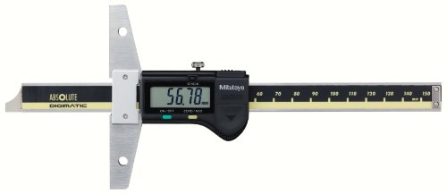 Mitutoyo 571-201-20 ABSOLUTE Digimatic LCD Depth Gauge, Caliper Type, 0-150mm Range, 0.01mm Graduation, +/-0.02mm Accuracy