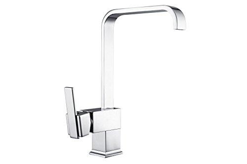 Hapilife® Modern Kitchen Sink Mixer Square Edge Spout Swivel Mono Tap Height 330mm