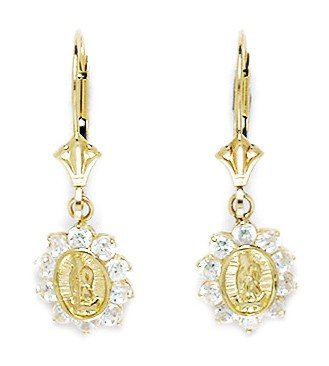 14ct Yellow Gold CZ Large Virgin Mary Drop Leverback Earrings - Measures 26x9mm