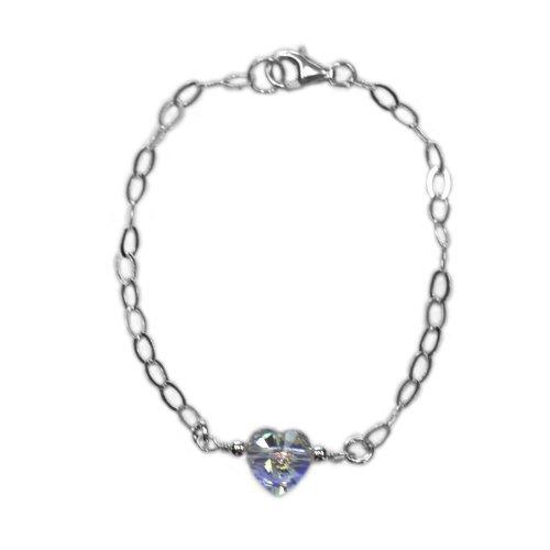 Crystal Heart Bracelet Made with SWAROVSKI ELEMENTS AB Crystal Sterling Silver Adjustable Length