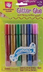 Glitter Glue Fine Tip Pens .3 Ounce 6/Pkg-Basic