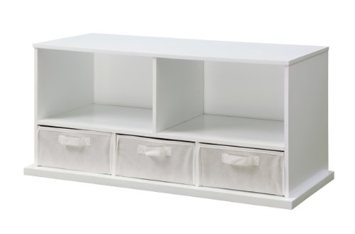 Lowest Price! Badger Basket Shelf Storage Cubby with Three Baskets, White