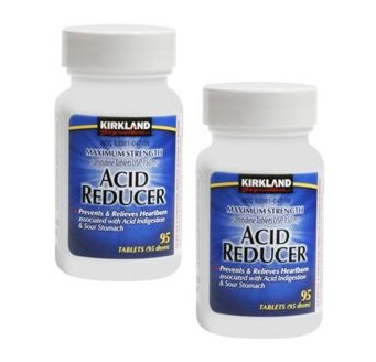 Kirkland Signature Maximum Strength Acid Reducer Prevent & Relieves Heartburn Associated with Acid Indigestion & Sour Stomach Ranitidine Tablets, Usp 150mg Acid Reducer - 2 Packs of 95 Counts Bottle Tablets (190 Doses Total) - Cos8