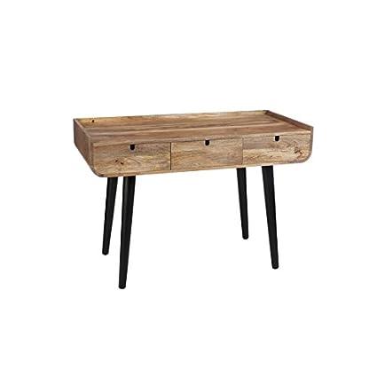 Scrivania 3Cassetti Vintage in legno naturale e nero