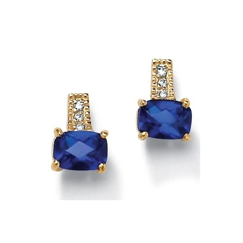 PalmBeach Jewelry Synthetic Blue Sapphire Gold plated Earrings