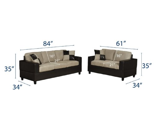 Buy Low Price Poundex Bobkona Seattle Microfiber Sofa and Loveseat 2-Piece Set in Mushroom Color (VF_F7594)
