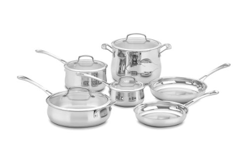 Cuisinart 44-10N Contour Stainless 10-Piece Cookware Set (Cuisinart Contour Stockpot compare prices)