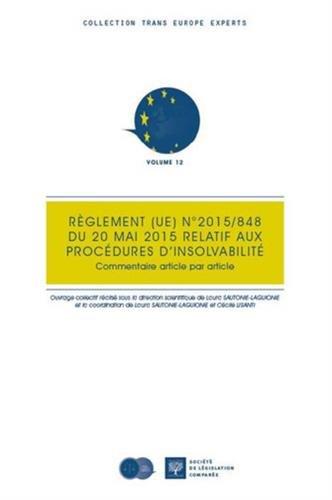 Règlement n° 848/2015 du 20 mai 2015 relatif aux procédures d'insolvabilité