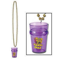 Beads w/Mardi Gras Glass Party Accessory (1 count) (1/Card)