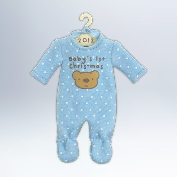 Hallmark 2012 Keepsake Ornaments Qxg4614 Baby Boys First Christmas Onesie Picture