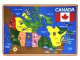 "Joy Carpets Kid Essentials Geography & Environment Oh Canada Rug, Multicolored, 7'8"" x 10'9"""