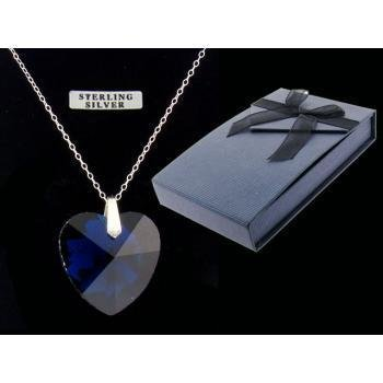 Sapphire Heart Pendant on Sterling Silver Chain Case Pack 3