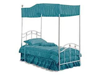 Twin size solid turquoise canopy top fabric for Turquoise bed frame