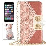 Bowknot Wallet Style Leather Case with Chain and Card Slots for iPhone 6(Orange)