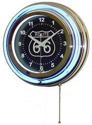 Neon Wall Clock Route 66 Circular Blue Black