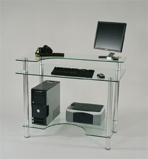 Buy Low Price Comfortable Glass and Aluminum Computer Desk with casters (Clear Glass and Aluminum) (30″H x 43″W x 24″D) (B000Y1GFA4)