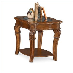 Cheap Wynwood Cordoba End Table w/ Glass Top in Burnished Pine (1635-05)