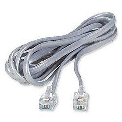 RJ11 6P6C Modular Flat Phone Cable, Silver, 7 Feet
