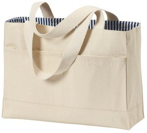 Port & Company Double Pocket Tote Bag (B450) Available In 5 Colors Natural