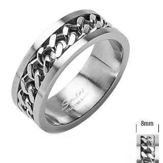 Mens Motorcycle Chain Ring 2 Piece in Polished Steel 8MM Wide - Size 11