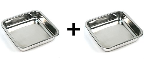 Happy Sales HSSSP-SQ2, 8-Inch Stainless Steel Cake Square Pan Set of 2 (Stainless Steel Square Pan compare prices)