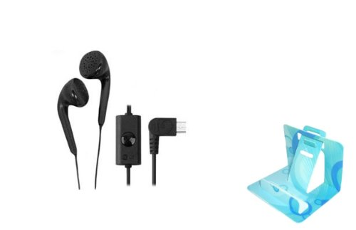 Lg Brand Oem Micro-Usb Stereo Handsfree Headset Wired Earphones Earbuds Headphones With Microphone For Tracfone Lg 420G (Comes With Universal Phone Stand)