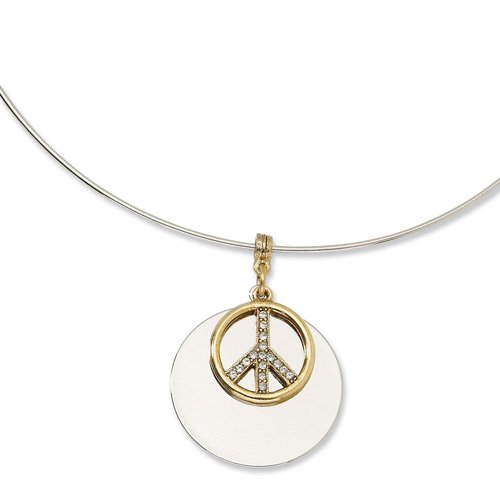 Silver-tone with Gold-tone & Crystal Peace Symbol 17