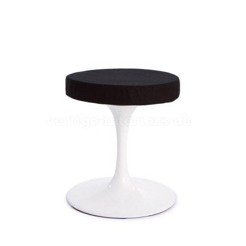 *Set Of 2* High Quality Saarinen Tulip Dining Stool - Black Seat Pad front-17514