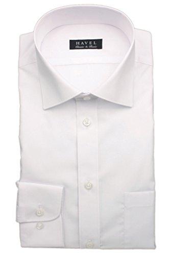 (ハヴェル) HAVEL メンズ 形態安定ワイシャツ ショートワイドカラー 白 ブロード織りドレスシャツ Yシャツ カッターシャツ [スリム体 長袖] 衿回り-裄丈:38-80