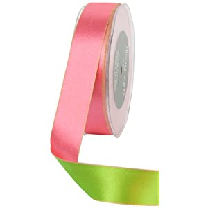 May Arts 1-Inch Wide Ribbon, Pink and Green Reversible Satin