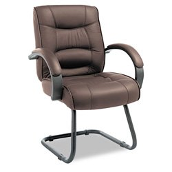 Alera SR43LS50B Strada Series Guest Chair with Brown Leather Upholstery