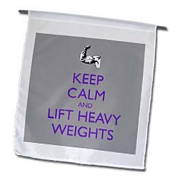 EvaDane - Funny Quotes - Keep calm and lift heavy weights. Purple. - Flags - 12 x 18 inch Garden Flag by 3dRose LLC