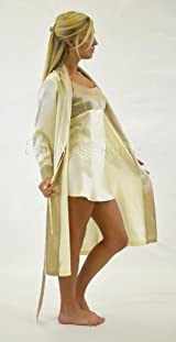 Silk Long Robe and Matching Silk Slip Set - Classic Ivory Taupe