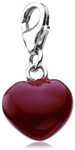 Dew Sterling Silver Red Enamelled Heart Charm 78030RE003