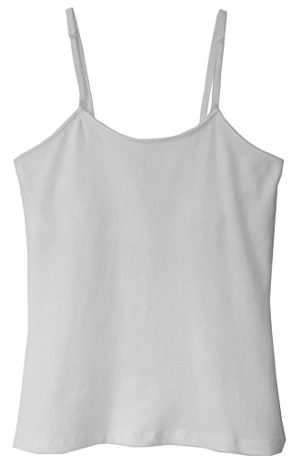 Popular Girl's Cotton Camisole with Built-in Bralette – White – M