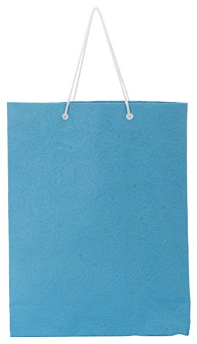 Utsav Kraft Paper 3 Ltrs Light Blue Reusable Shopping Bags (pack Of 10)