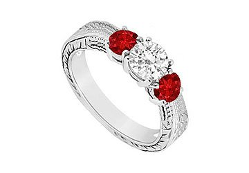 Sterling Silver Ruby and Cubic Zirconia Three Stone Ring 0.50 CT TGW MADE IN USA