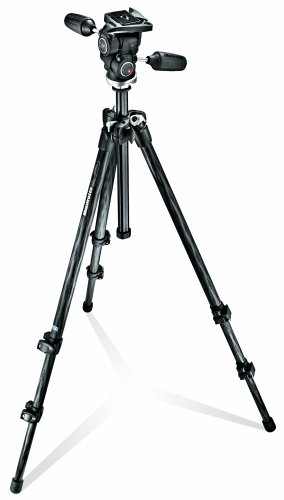 Manfrotto MK294C3-D3RC2 3 Section Carbon Fiber Tripod Kit with Quick Release 3-Way Head (Black) (Manfrotto Carbon Tripod compare prices)