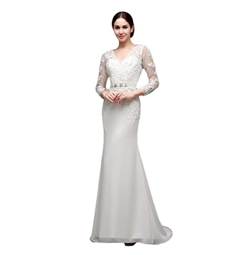 70b8d2ba9bc6 Ever-youth Women's V-Neck Long Sleeves Lace Appliques Sheer Back Bridal  Dress White US02
