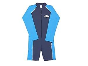Sting Ray RE Combinaison de bain à manches longues/shorty avec protection UV pour enfant Bleu Bleu marine AZ 92 cm