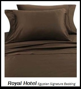 Royal Hotel's Solid Chocolate 1400-Thread-Count 4pc California-King Bed Sheet Set 100-Percent Egyptian Cotton, Sateen Solid, Deep Pocket