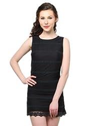 XnY Black Net Embroidered Dress