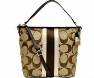 Coach  Coach Signature Hamptons Weekend Medium Tote Handbag 19999 Khaki Mahogany