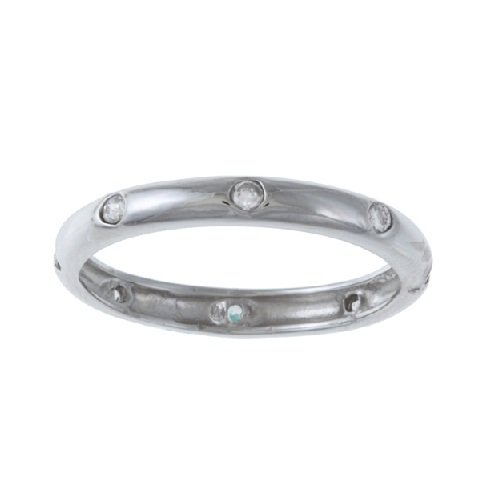 Sterling Silver CZ Eternity Band Ring (Size 8) Available in sizes 6 through 9